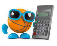 3d Basketball calculates. 3d render of a basketball character with a calculator Stock Image