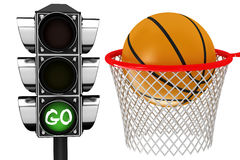 3D Basketball centering the basket Stock Images