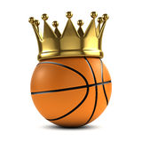 3d Basketball champ. 3d render of a basketball wearing a gold crown Royalty Free Stock Images
