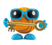 3d Basketball character holding a gold key. 3d render of a basketball character holding a gold key Stock Photography