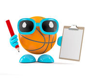 3d Basketball with clipboard and pencil. 3d render of a basketball holding a clipboard and pencil Stock Photography