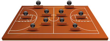 3d basketball court. EPS 10 Vector illustration of 3d basketball court Royalty Free Stock Image