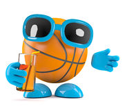3d Basketball drinks at the party. 3d render of a basketball character drinking from a glass Royalty Free Stock Photo