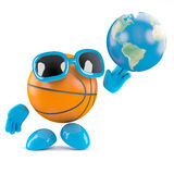 3d Basketball globe. 3d render of a basketball character shooting with a globe of the Earth Royalty Free Stock Image
