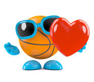 3d Basketball has a heart. 3d render of a basketball character holding a red heart Royalty Free Stock Image