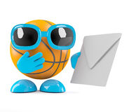 3d Basketball has mail. 3d render of a basketball character holding an envelope Royalty Free Stock Photo