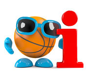 3d Basketball information. 3d render of a basketball character with an information symbol Royalty Free Stock Image