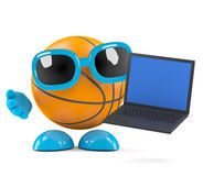 3d Basketball laptop. 3d render of a basketball character with a laptop Stock Photography