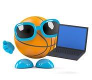 3d Basketball laptop Stock Photography