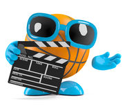 3d Basketball makes a movie. 3d render of a basketball character holding a clapperboard Stock Photo