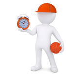 3d basketball player with the alarm clock. Isolated render on a white background Royalty Free Stock Image