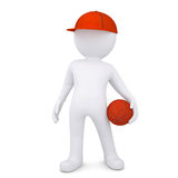 3d basketball player with the ball. Isolated render on a white background Royalty Free Stock Photo
