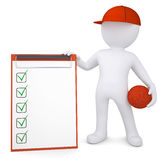 3d basketball player with the checklist Royalty Free Stock Image