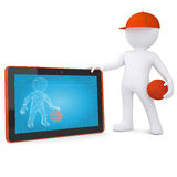 3d basketball player with the tablet PC Stock Photos