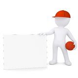3d basketball player with the white card. Isolated render on a white background Royalty Free Stock Photography