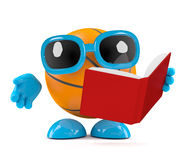 3d Basketball reads a book. 3d render of a basketball reading a book Stock Images
