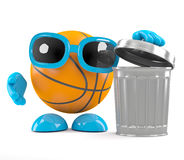 3d Basketball throws out the rubbish. 3d render of a basketball character with a trash can Stock Image