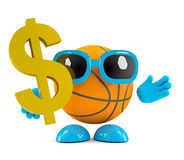 3d Basketball US dollars. 3d render of a basketball character with a US Dollar symbol Stock Photo