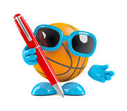 3d Basketball writes with a pen. 3d render of a basketball character holding a pen Stock Photos