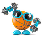 3d Basktetball work out. 3d render of a basketball character training with weights Stock Photography