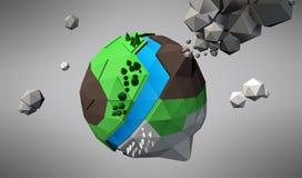 3D basse poly planète, illustration de vecteur illustration de vecteur