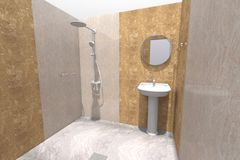 3D bathroom interior render in Armenia. 3D house drawing line, exterior design,  3D home, rendering residential, building, caffe, mini park Royalty Free Stock Photos