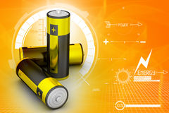 3d Batteries in attractive background Stock Image