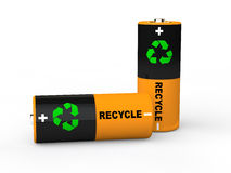 3d batteries with recycle symbol. 3d render of batteries with recycle symbol Royalty Free Stock Photos