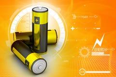 3d Batterijen op aantrekkelijke achtergrond Stock Afbeelding