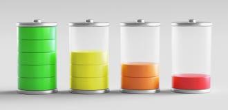 3d batterijniveaus, hoog en laag, geven illustratie terug vector illustratie
