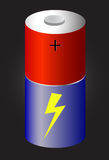 3D Battery at black background. One 3D Battery at black background Royalty Free Stock Images