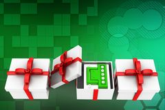 3d battery inside gift illustration Royalty Free Stock Photo