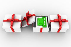 3d battery inside gift Royalty Free Stock Images