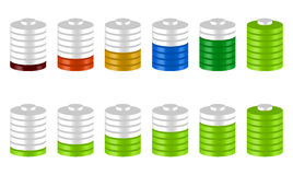 3d battery level indicators in sequence. Green and multicolor ve. Rsion - Royalty free vector illustration Stock Images