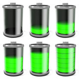 3d battery symbol full to empty collage. On white background Royalty Free Stock Photo
