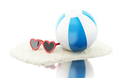 3d Beach ball with sand and sunglasses. 3d renderer image. Beach ball with sand and sunglasses. Vacation concept. Isolated white background Stock Images