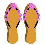 3D beach sandals on white background. Vector illustration Stock Photography