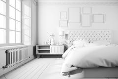 3d beautiful bedroom interior render. 3d beautiful white bedroom interior render Stock Photos