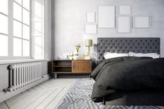 3d beautiful bedroom interior render. 3d beautiful white and gray bedroom interior render Royalty Free Stock Images