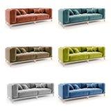 3d beautiful colorful velvet sofa. On white background stock image