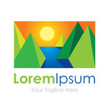 3D beautiful landscape sunrise in nature element icon logo for business. Enjoy Stock Photo