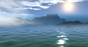 3D Beautiful Sea Morning View. (3D Art Render Stock Photo