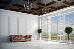 3d beautiful vintage white interior with big windows. And beautiful view Stock Photo
