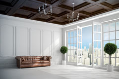 3d beautiful vintage white interior with big windows. And beautiful view Stock Images