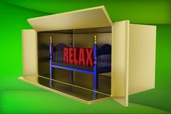 3d bed relax illustration Stock Photo