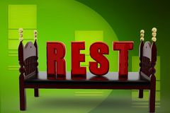 3d bed rest illustration Royalty Free Stock Image