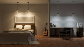 3d bed rom. 3ds rendered image of bed room in night time,warm white light over bed, cool white light over working desk , guitar placed on parquet herringbone Stock Image