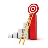 3d bedrijfsgrafiek met houten ladder aan het rode doel Royalty-vrije Stock Fotografie