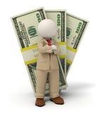 3d bedrijfsmens in beige kostuum - pak van geld Royalty-vrije Stock Foto's