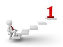 3d bedrijfsmens die aan zijn rood nummer 1 doel opvoeren stock illustratie